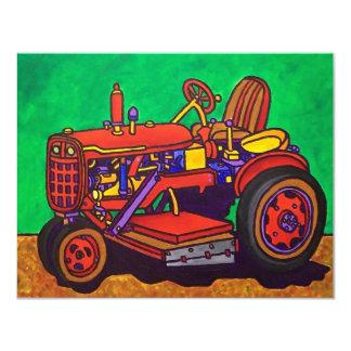 Tracteur heureux par Piliero Carton D'invitation 10,79 Cm X 13,97 Cm