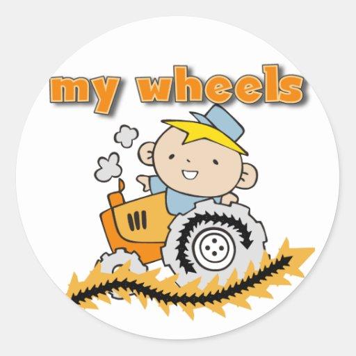 Tracteur mes T-shirts et cadeaux de roues Adhésif Rond