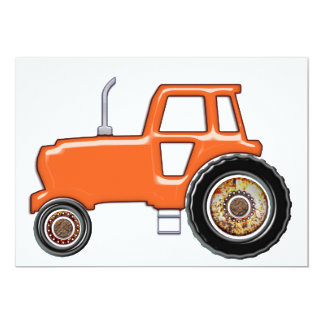 Tracteur orange brillant carton d'invitation