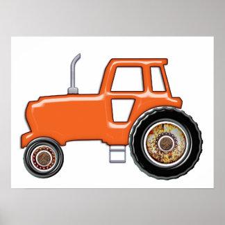 Tracteur orange brillant posters