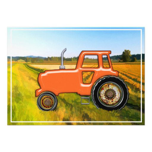 Tracteur orange dans les domaines faire-part personnalisables