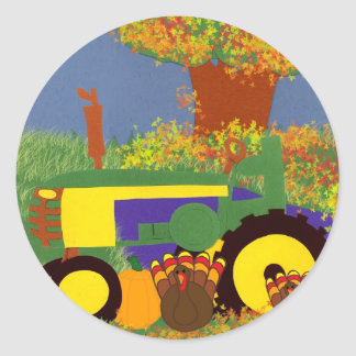 Tracteur par les arbres et les dindes 1 d'automne sticker rond