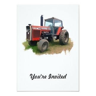 Tracteur rouge de Massey Ferguson dans le domaine Invitations Personnalisées