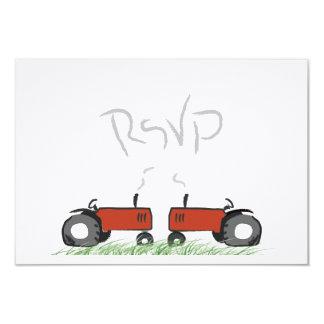 Tracteur rouge épousant la carte de RSVP Carton D'invitation 8,89 Cm X 12,70 Cm