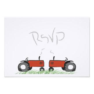 Tracteur rouge épousant la carte de RSVP Bristols Personnalisés