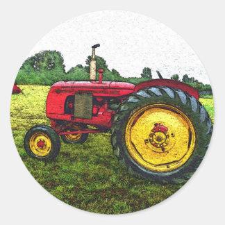Tracteur rouge et jaune de ferme autocollants ronds
