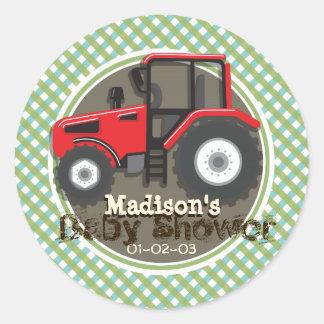 Tracteur rouge mignon de ferme ; Baby shower vert Sticker Rond