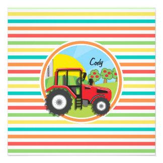 Tracteur rouge ; Rayures lumineuses d'arc-en-ciel Faire-part
