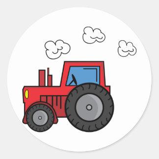 Tracteur rouge sticker rond