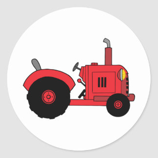 tracteur rouge vintage autocollants ronds