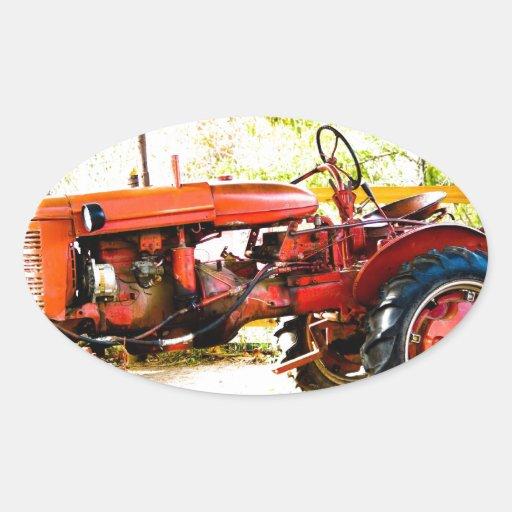 Tracteur rouge vintage autocollant ovale