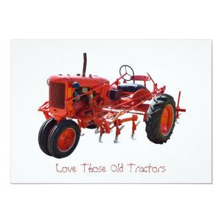Tracteur rouge vintage carton d'invitation  12,7 cm x 17,78 cm