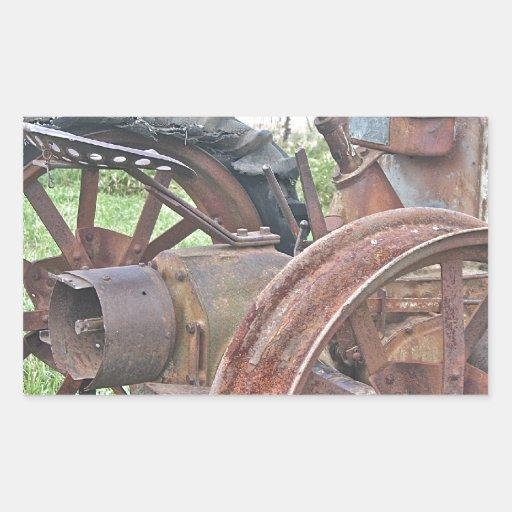 Tracteur rouillé autocollant rectangulaire