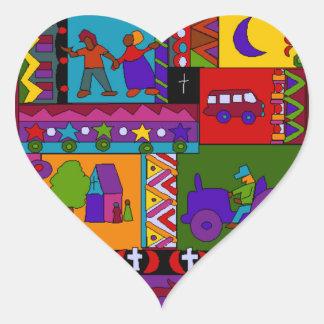 Tracteur rural de coeur d'art populaire de couples sticker cœur