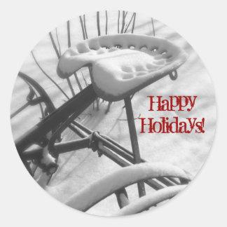 Tracteur Seat dans la neige : Bonnes fêtes joint Sticker Rond