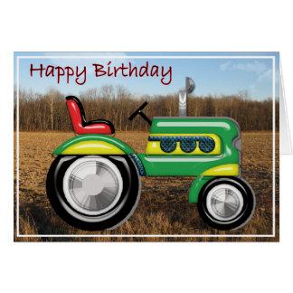 Tracteur terrible dans l'anniversaire de champ cartes de vœux
