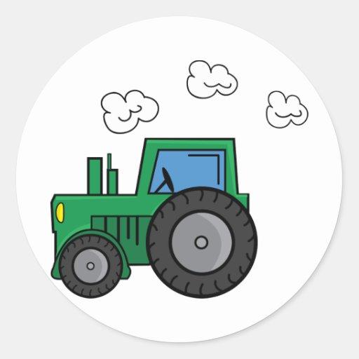 Tracteur vert adhésif rond
