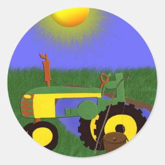 Tracteur vert avec la pêche Polonais par Sticker Rond