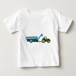 Tracteur vert avec le chariot bleu de grain t-shirt pour bébé