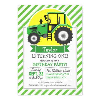 Tracteur vert de ferme avec le jaune ;  Vert et Carton D'invitation 12,7 Cm X 17,78 Cm