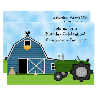 Tracteur vert et invitation bleu d'anniversaire de