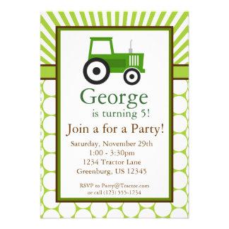 Tracteur vert - invitation de fête d anniversaire