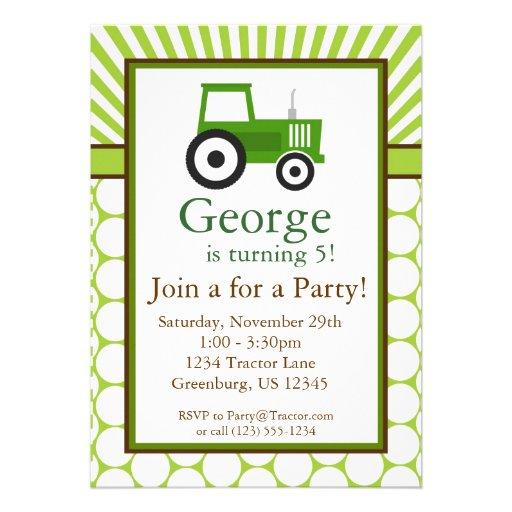Tracteur vert - invitation de fête d'anniversaire