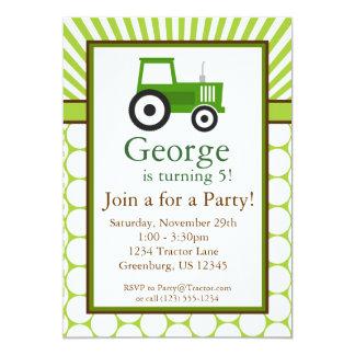 Tracteur vert - invitation de fête d'anniversaire carton d'invitation  12,7 cm x 17,78 cm