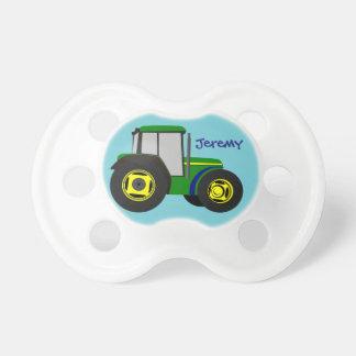 Tracteur vert personnalisé de ferme tétine