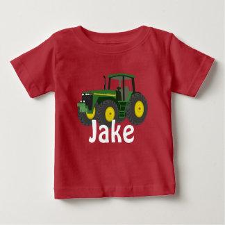 Tracteur vert personnalisé t-shirt pour bébé