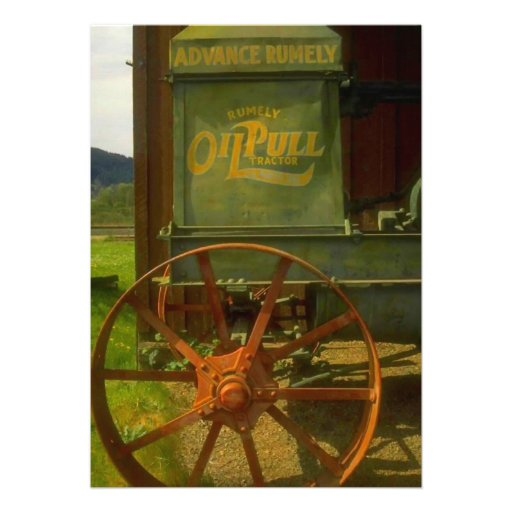 Tracteur vert vintage d'invitation de partie de re
