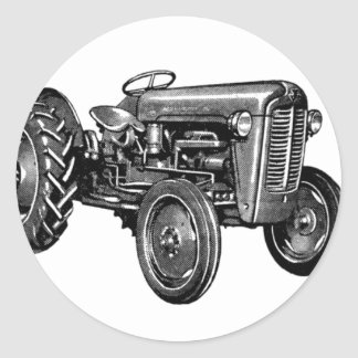 Tracteur vintage adhésifs ronds