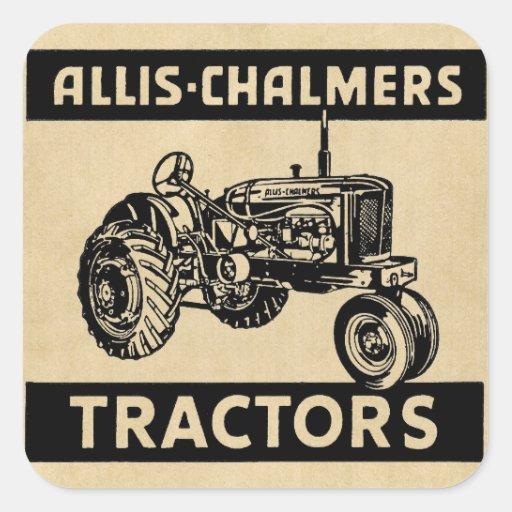 Tracteur vintage de ferme autocollants carrés