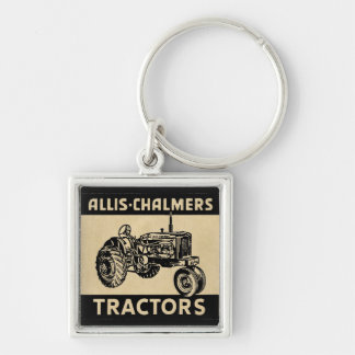 Tracteur vintage de ferme porte-clé carré argenté