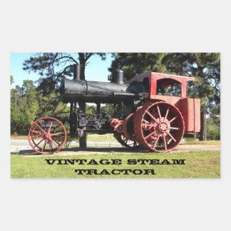 Tracteur vintage de vapeur - en couleurs sticker rectangulaire