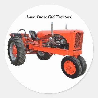 Tracteur vintage reconstitué sticker rond