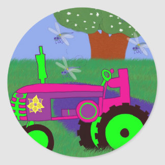 Tracteurs et libellules adhésif rond