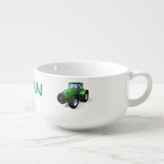 Tracteurs verts personnalisés de ferme mug à soupe