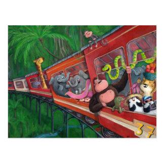 Train animal de jungle carte postale