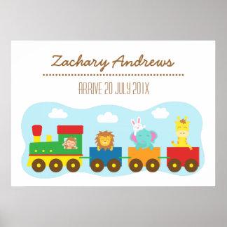 Train animal mignon coloré, pour la chambre à couc posters