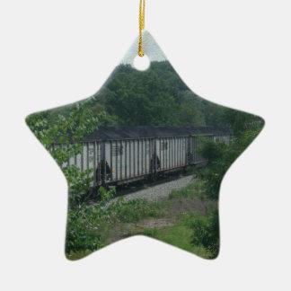 Train chargé de charbon ornement étoile en céramique