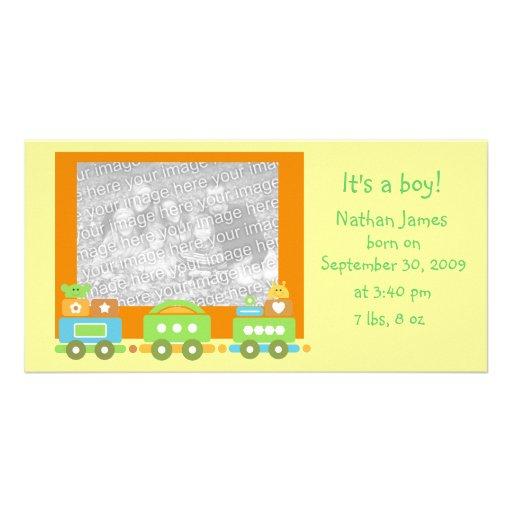 Train de bébé cartes de vœux avec photo