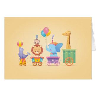 Train de cirque de Kawaii Carte De Vœux