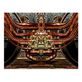 train de cuivre de machine à vapeur - ingénieur de carte postale