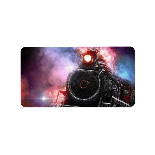Train de fret flamboyant étiquette d'adresse