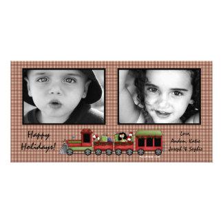 Train de jouet de plaid photocarte