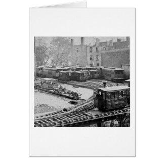 Train de New York City sur le chemin de fer élevé Carte De Vœux