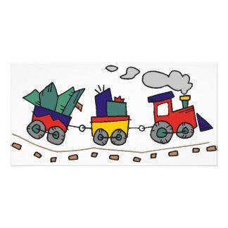 Train de Noël Cartes De Vœux Avec Photo