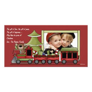 Train de Noël - fête d'anniversaire de vacances de Photocartes