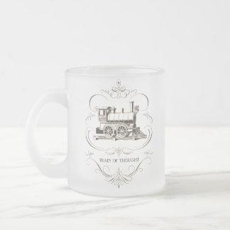 Train de pensée vintage mug en verre givré